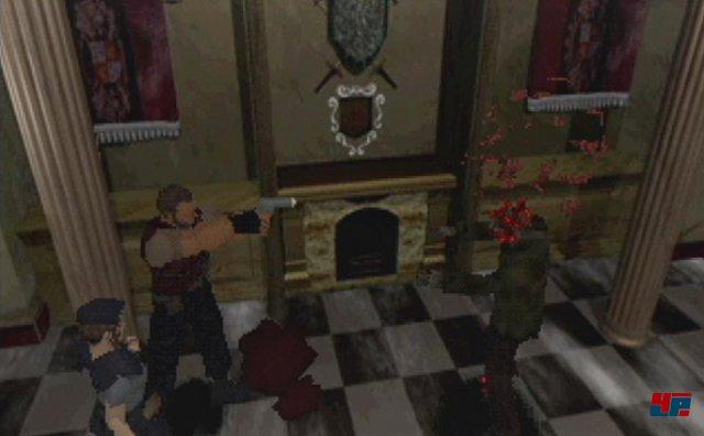 1996 nahm der Survival Horror von Resident Evil seinen Anfang. Hier der erste von vielen weiteren Untoten, bei denen die Bleibehandlung das Pixelblut verteilte.