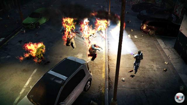Zombies an hupende Autos locken, dann die Explosion einleiten...auf der PlayStation 4 l�uft Dead Nation auf PS4 erstmals in 1080p, wurde aber grafisch nur leicht verfeinert.