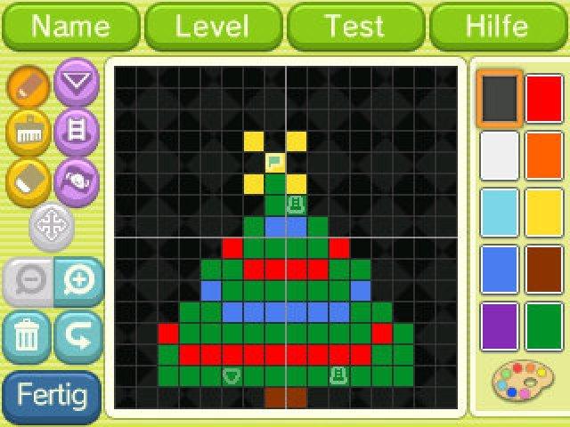 Der Level-Editor in Aktion. Erstellte Puzzles werden mit Hilfe kleiner Schwarz-weiß-Codes getauscht.