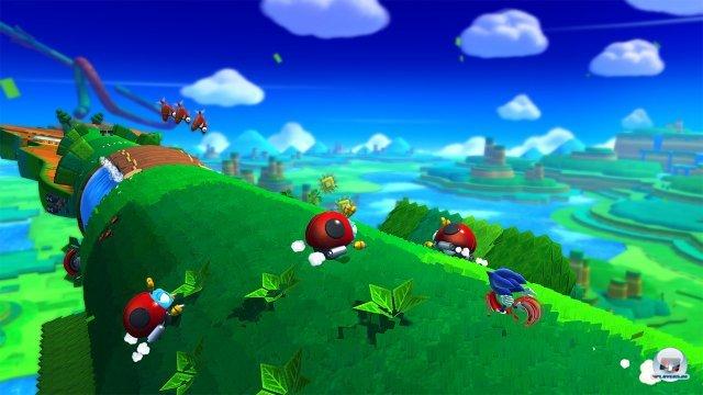 Was f�r ein Panorama! Anders als bei Mario geht in der Hektik aber oft die �bersicht fl�ten.