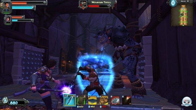 Gemeinsam sind sie stark: Die Zauberin attackiert aus der Ferne und verzaubert Gegner, während der Kerl den Nahkampf sucht.