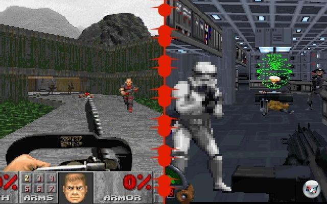 <b>Doom vs. Doom-Clones:</b><br><br>Speziell im ersten Jahr nach der Veröffentlichung des id-Meilensteins regneten derart viele Ego-Shooter auf PC-Spieler ein, dass sich der Begriff »Doom-Klon« schnell etablierte. In den meisten Fällen war der zurecht abfällig gemeint, denn der größte Teil des »Sieh die pixelig texturierte Welt durch die Augen eines Space Marines / Supercops / tragischen Rächers«-Haufens war Müll. Allerdings gab es auch qualitativ hochwertige Ausnahmen wie Star Wars: Dark Forces, Marathon oder Heretic, die nur auf den ersten Blick auf der gerade so erfolgreichen Welle mitschwammen, in Wirklichkeit aber das Genre in wichtigen Punkten weiterbrachten. 1906493