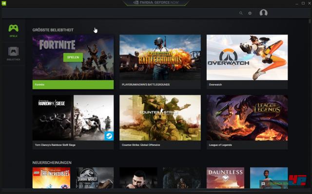 """Auf der Startseite von GeForce Now werden neue """"Highlights"""", neue Spiele , Free-to-play-Titel etc. vorgestellt"""