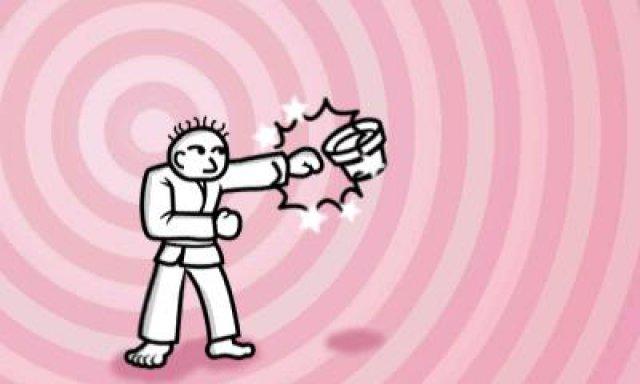 Eines der einfacheren Minispiele: Als Karateka muss man im Takt auf Gegenstände einprügeln.