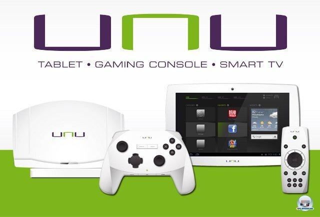 <b>UNU</b><br><br> Die frisch angekündigte Unu ist laut ihrem Hersteller Sunflex die eierlegende Wollmilchsau unter den Android-Geräten. Das Tablet lässt sich unterwegs benutzen, an den Fernseher anschließen und mit den zwei beiliegenden Controllern bedienen. Einer davon ist ein klassisches drahtloses Gamepad, das andere eine