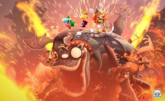 <b>Rayman Legends (Wii U)</b><br><br> Bab - bab - baah! Die singenden und tanzenden Bonuspunkte sind zurück - diesmal (vorerst?) exklusiv für Wii U. Bis zu vier Spieler hüpfen und kloppen mit Rayman & Co, ein Fünfter albert mit Frosch Murphy herum. Der grinsende Helfer schwebt mit blitzschneller Touchscreen-Steuerung auf dem Bild umher, bewegt Zahnräder, klappt rhythmisch Plattformen herbei. Schon die im eShop erhältliche Demo macht richtig gute Laune, am 28. Februar startet die Vollversion durch. 92434232
