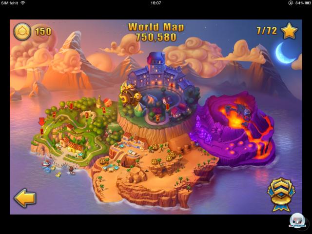 Neu ist die Inselweltkarte: Von hier zieht man los, um gegen 30 Truppentypen in vier Zonen anzutreten.